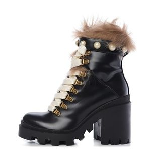 Gucci Lace Up Trip Boots With Fur